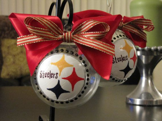 Pittsburgh Steelers Ribbon | Pittsburgh Steelers Team Logo Hand Painted Ribbon Glass Ornament Size ...