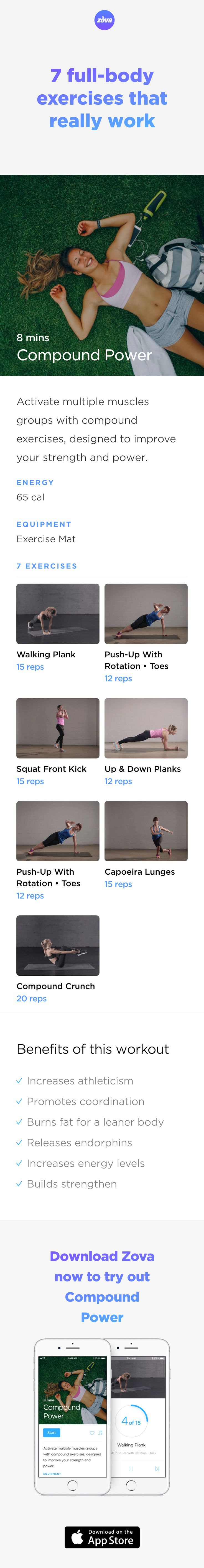 You don't need to workout for hours and diet every day to stay fit. You just need to eat well and find the right workout to do regularly. These seven compound exercises have been selected because they'll give you results, quickly. You'll feel healthier, leaner and fitter in less than 10 minutes a day. #HIIT #fitness #workout #fullbody #sweat