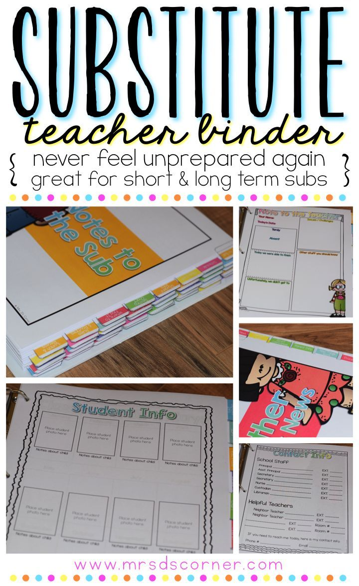 Never feel unprepared for a substitute again with this dual-purpose, editable substitute binder for both short and long term substitutes. This binder is intended to provide you, the teacher, with everything you need to have well prepared day(s) planned for your substitute teacher. Have an organized, well put together substitute binder for your days out that is not only easy to put together, but stylish with Melonheadz graphics! By Mrs. D's Corner.