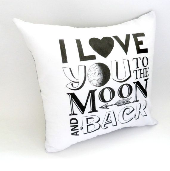 I Love You to The Moon and Back Pillow Case 14X14 by ellebeetree, $15.00
