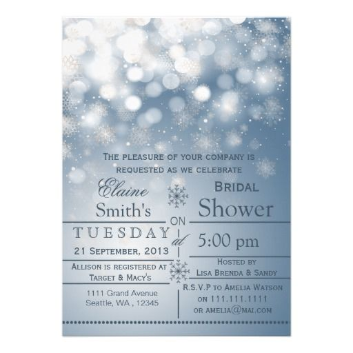 Blue snowflakes Winter Bridal shower Invite