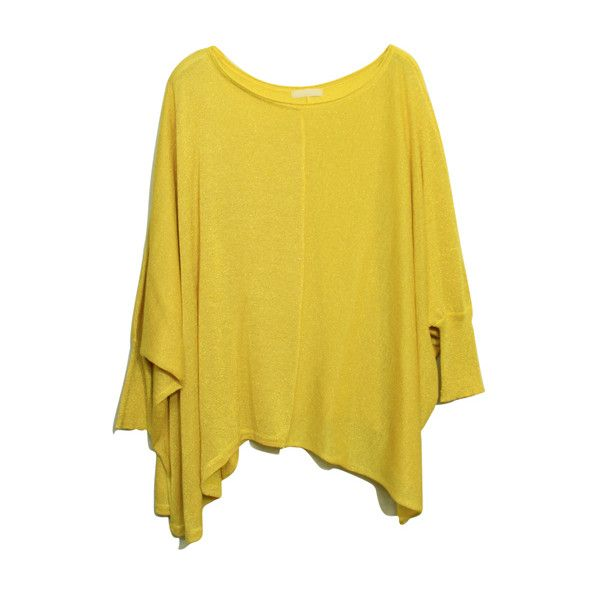 Batwing Sleeves Oversized Yellow Jumper ($44) ❤ liked on Polyvore featuring tops, sweaters, shirts, blusas, low top, yellow sweater, oversized shirt, stitch sweater and jumper shirt