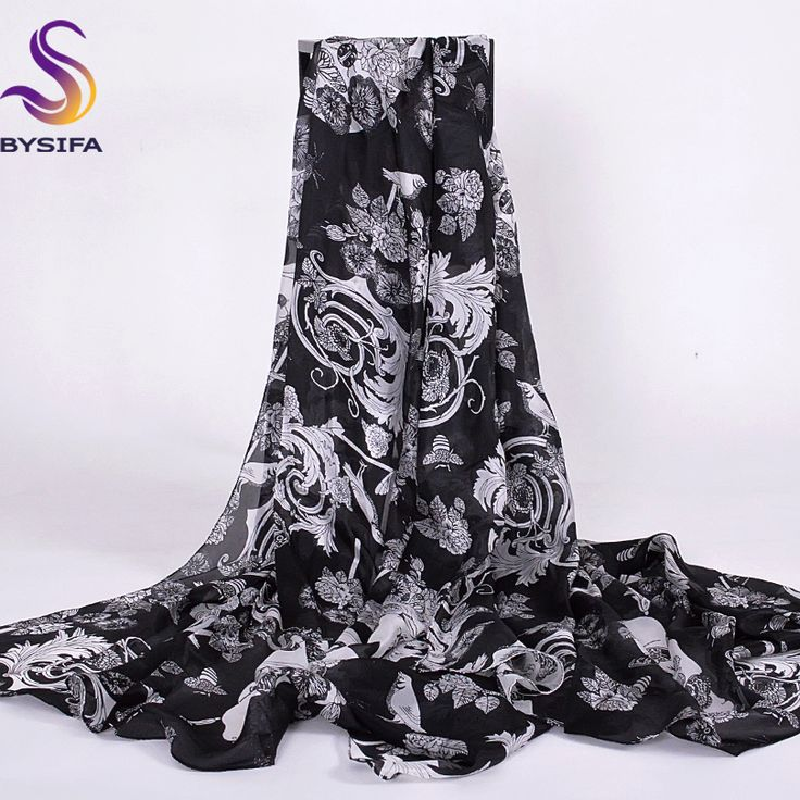 >> Click to Buy << [BYSIFA] Winter Black White Silk Scarf Shawl Fashion Accessories Ladies Scarves Cape Spring Autumn Women Long Scarves 200*110CM #Affiliate