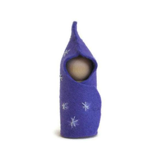 Felt Peg Doll Purple Starburst Baby Waldorf by MissTreeCreations, $5.00