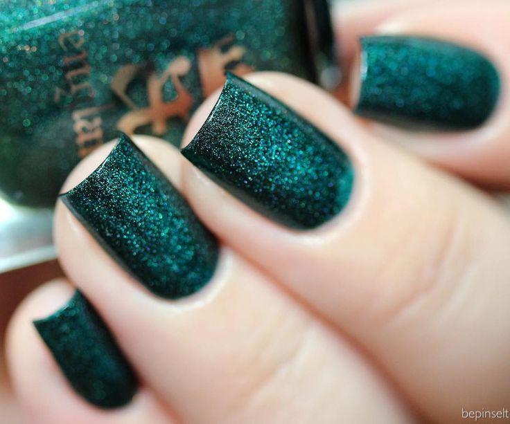 A England in Saint George #dark teal glitter holographic nail polish