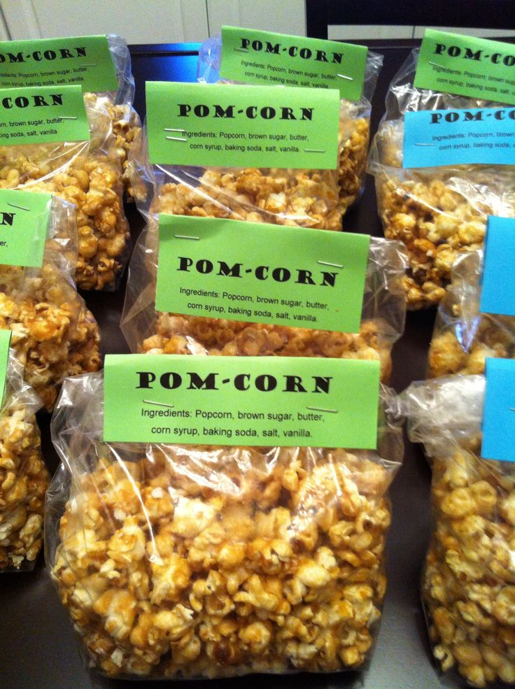 "We made ""Pom-corn"" as a fundraiser for the Cheer team bake sale. It sold out fast. It was just home made Carmel Corn using a recipe we found online."
