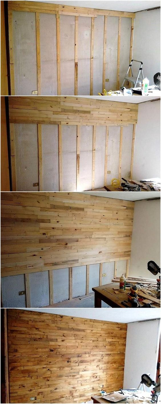 DIY Easy Pallet Wood Wall | Pallet wood walls, Pallet wood and ...