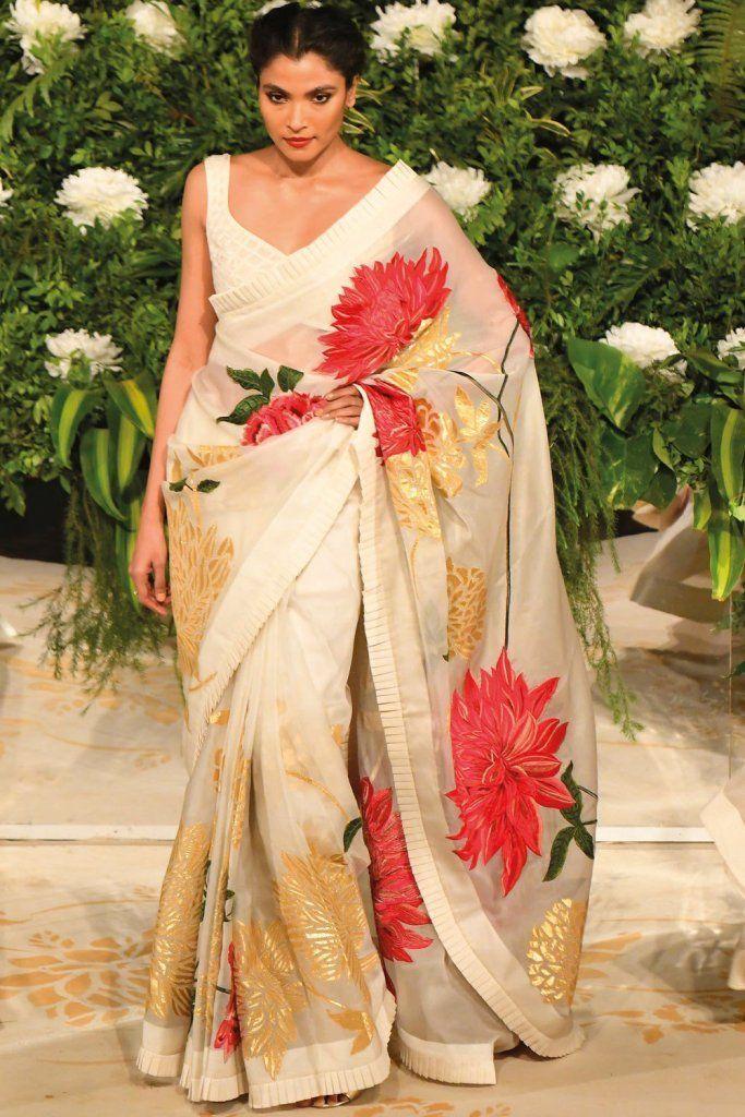 Deepika Padukone Rohit Bal White Gold Saree. Click on ...