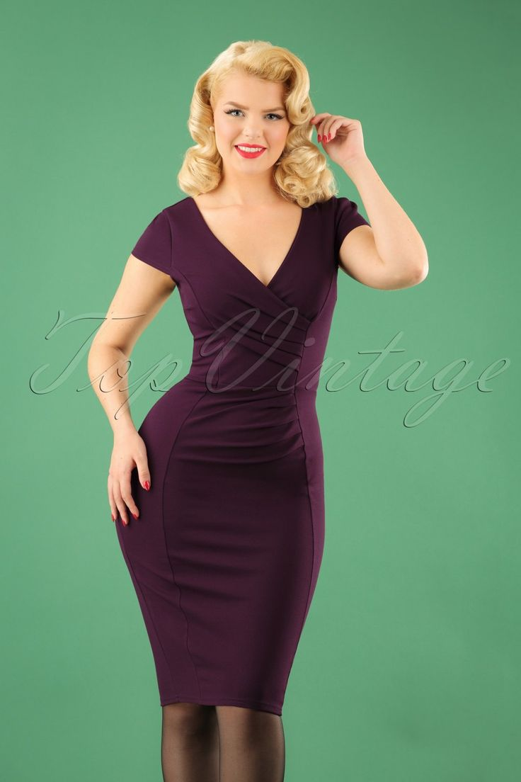 Always wanted a classic dress? This 50s Brenda Pencil Dress in Aubergine is everything you need! A day at the office, a night out with the girls or a fancy party, Brenda is super versatile! The beautiful wrap top features flattering pleated cap sleeves, an elegant V-neckline, V-back and ruches at the waist that will smartly camouflage any tummy flaws. Made from a lovely supple, stretchy, aubergine purple fabricthat hugs your curves without marking any problem areas.Elegance never goes out…