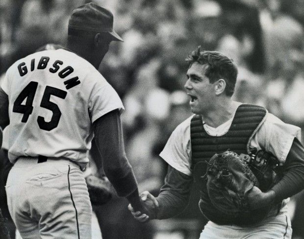 Bob Gibson and Tim McCarver, that championship year, 1964.