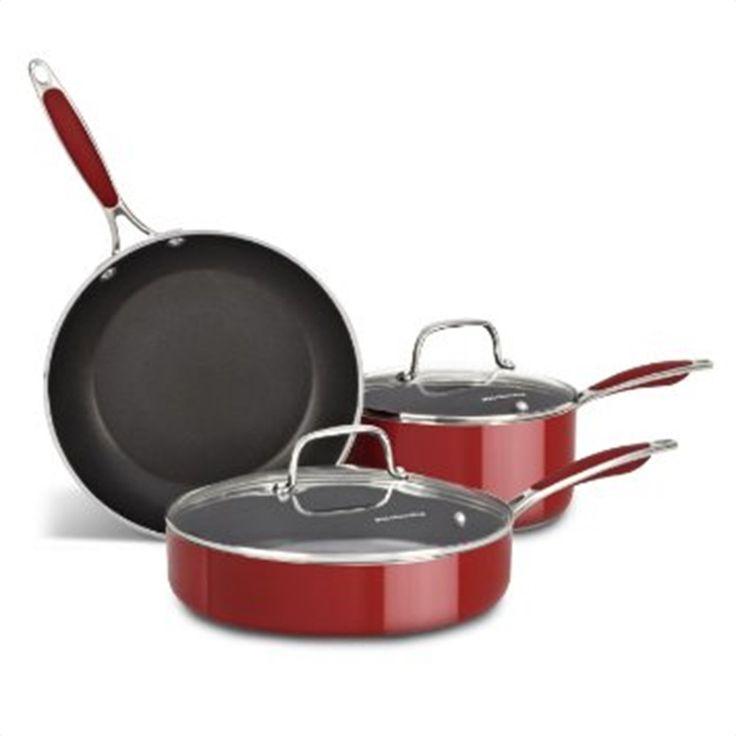 Kitchenaid aluminum empire red 5piece cookware set
