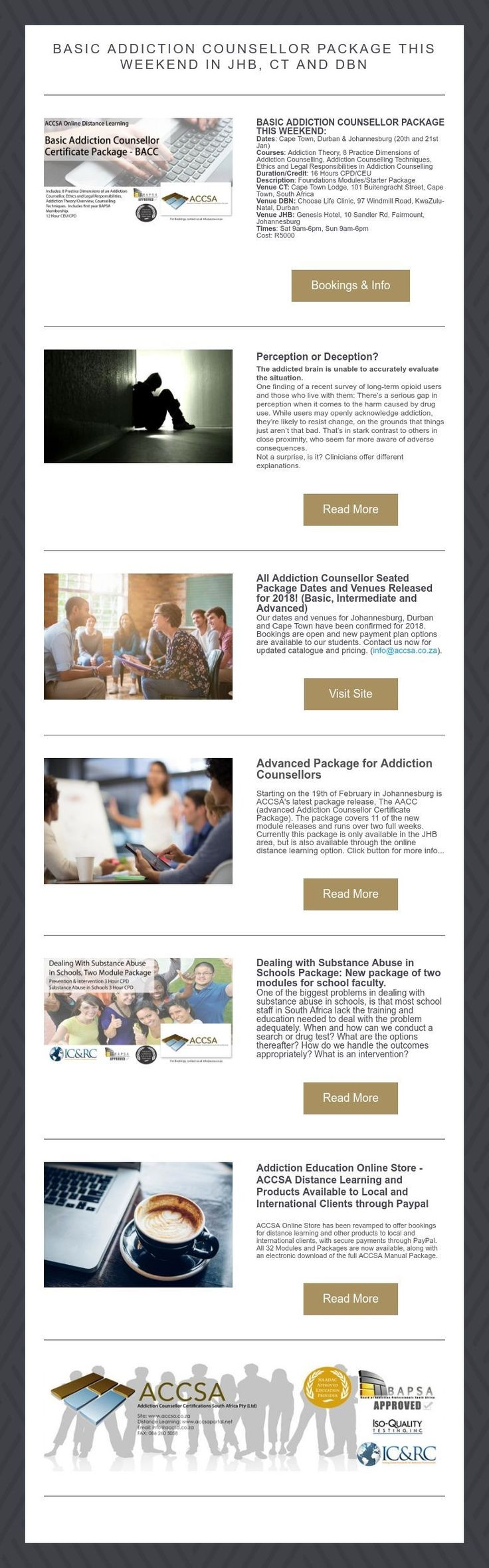 Basic Addiction counsellor package this weekend in jhb, ct and dbn