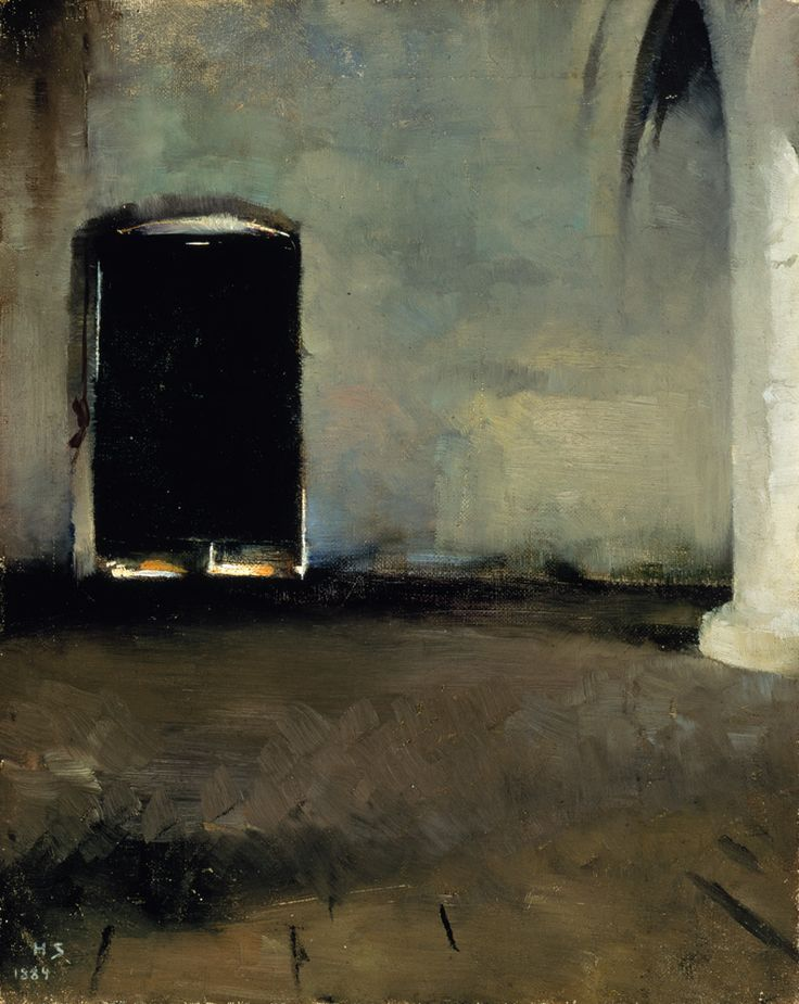 """Helene Schjerfbeck (Finnish, 1862–1946) The Door (Old monastery hall) (Die Tür (Alte Klosterhalle)), 1884 """