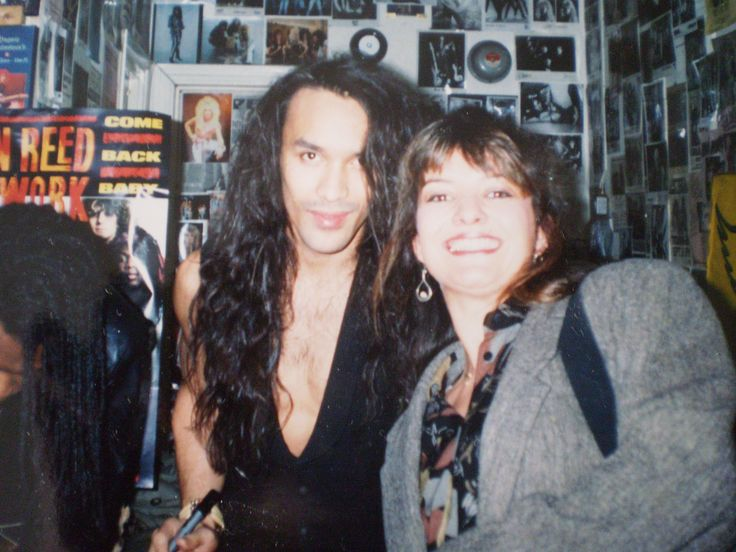 Julia with Dan Reed (of Network fame) in Shades record shop, Picadilly, 1990/1