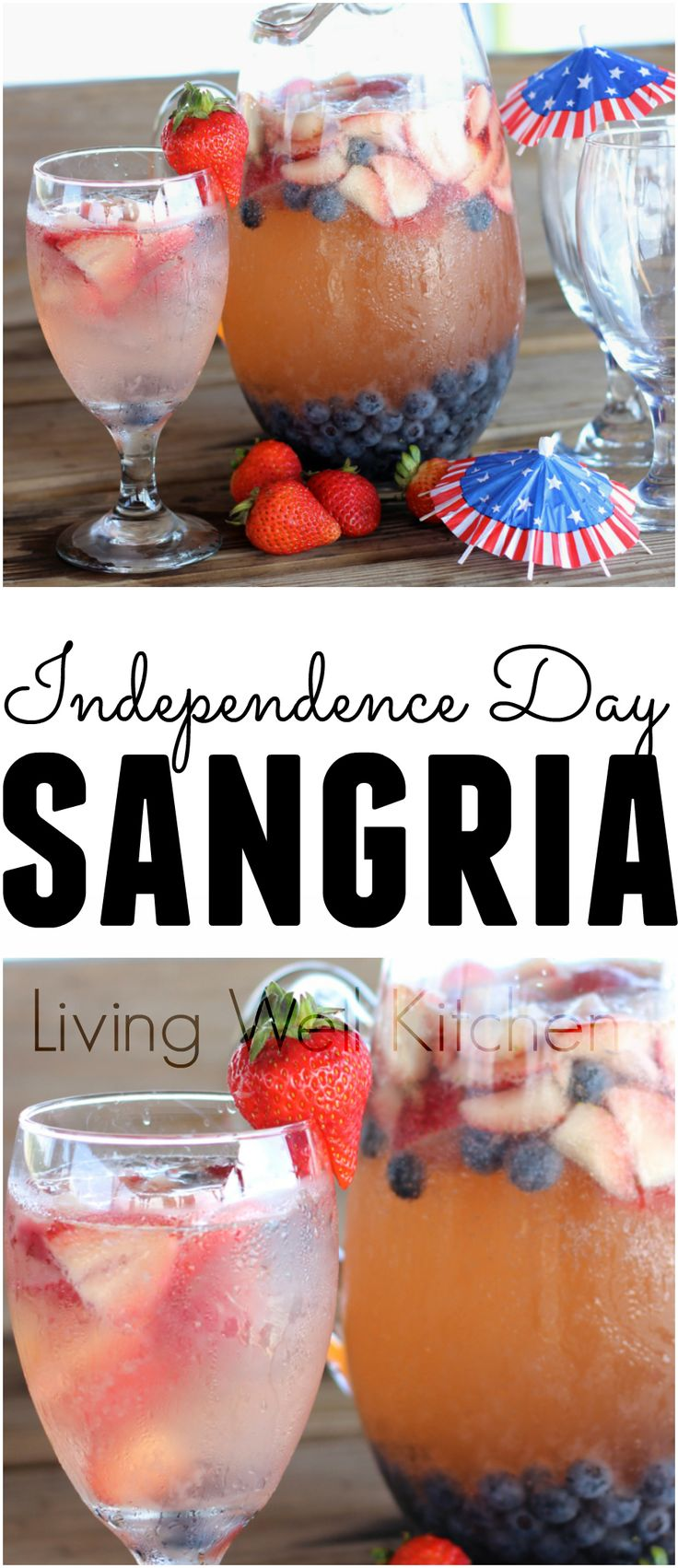 Independence Day Sangria is a festive and fun Red White & Blue Sangria perfect for celebrating on the Forth of July!
