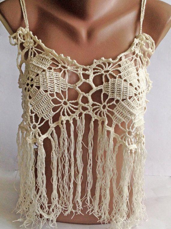 Halter summer top/ Bohemia Top/ Crochet lace top/ Festival top/ Crochet ivory Top/ Bohemian Crochet Lace Beachwear/ Bohemian halter top
