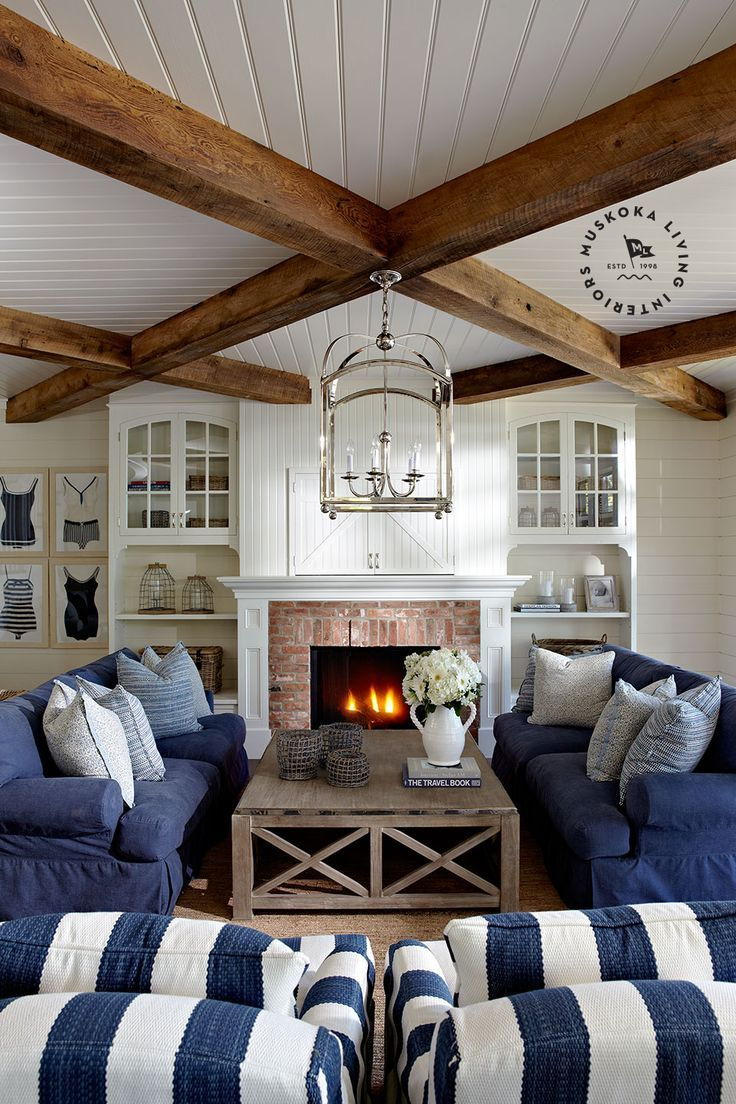 Find this pin and more on homes we love nautical blue and white slipcover living room