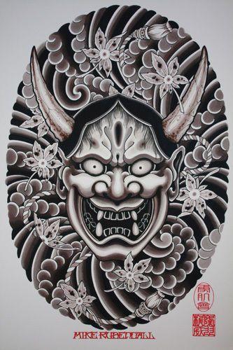 Mike Rubendall: Hannya Mask Original Tattoo Art Print