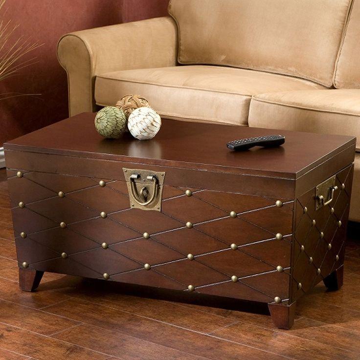 Cocktail Table Trunk Nailhead Espresso Transitional Veneer Living Room Furniture #HarperBlvd #Transitional #Table #Trunk #LivingRoom #Furniture
