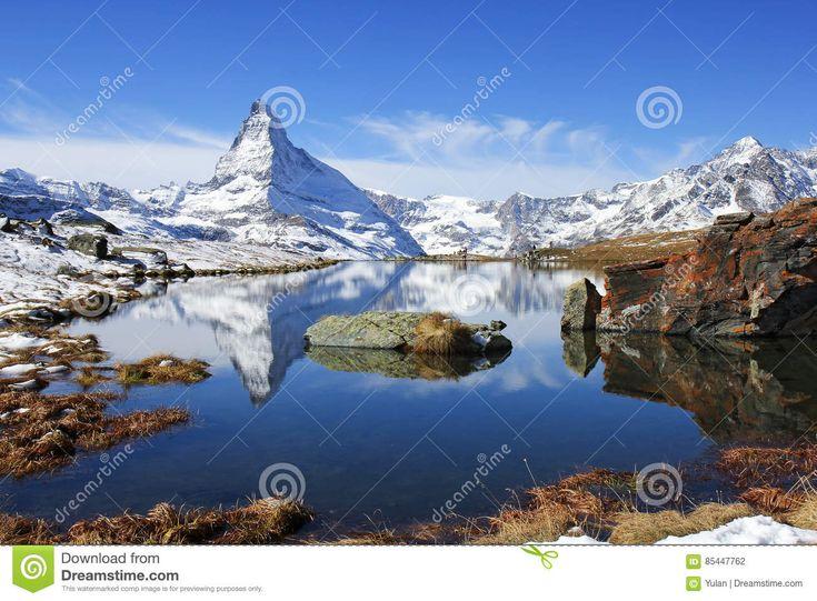 Matterhorn With Reflection On The Stellisee Lake Stock Photo ...