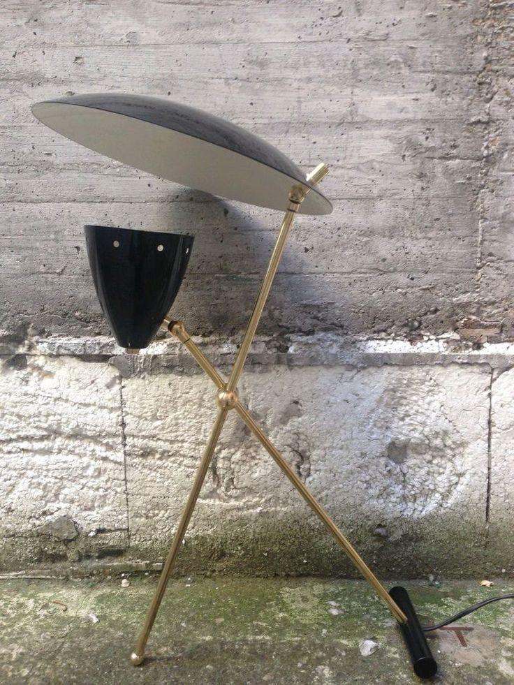 Lampada da tavolo vintage, stilnovo design anni 50, alluminio e ...