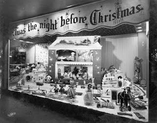 Twas the Night Before Christmas vintage store window display. (1948) Scranton, PA