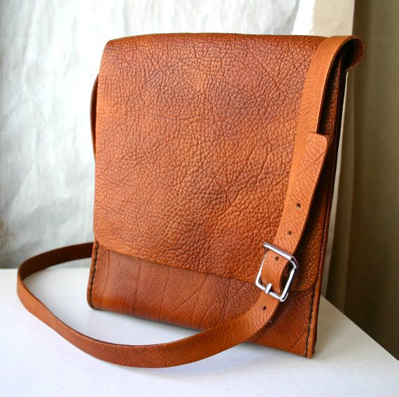 Brown leather messenger bag for him or her by FatCatLeather, $199.00