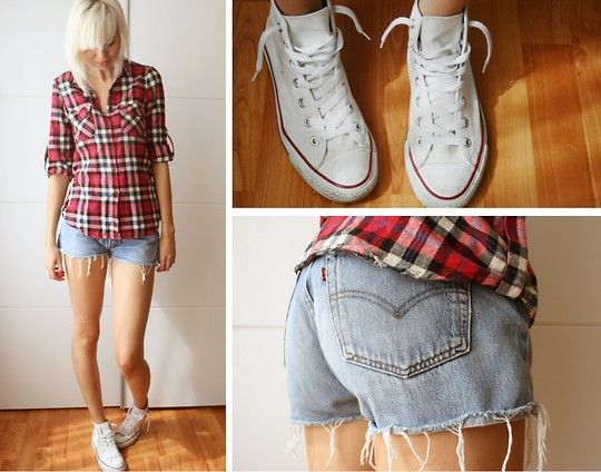 Primark Old Shirt, Levi's® Vintage Shorts, Converse All Stars