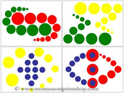 Knobless Cylinder Pattern Cards Set 2 - Printable Montessori Sensorial Materials for Montessori Learning at home and school.