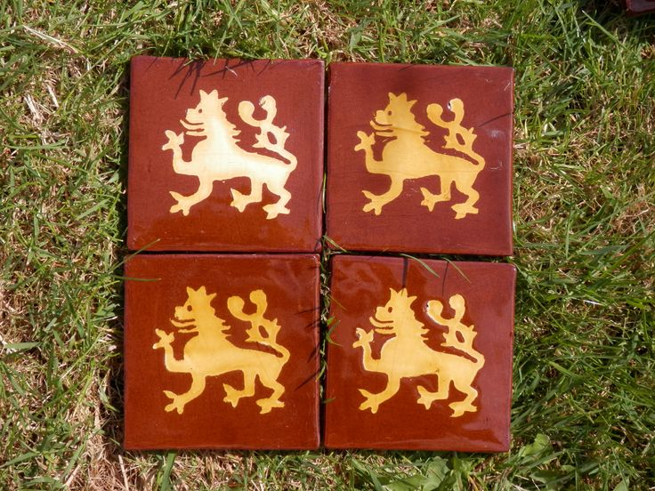 Slavic lion with two tails - medieval style inlaid tiles by Tanglebank Tiles
