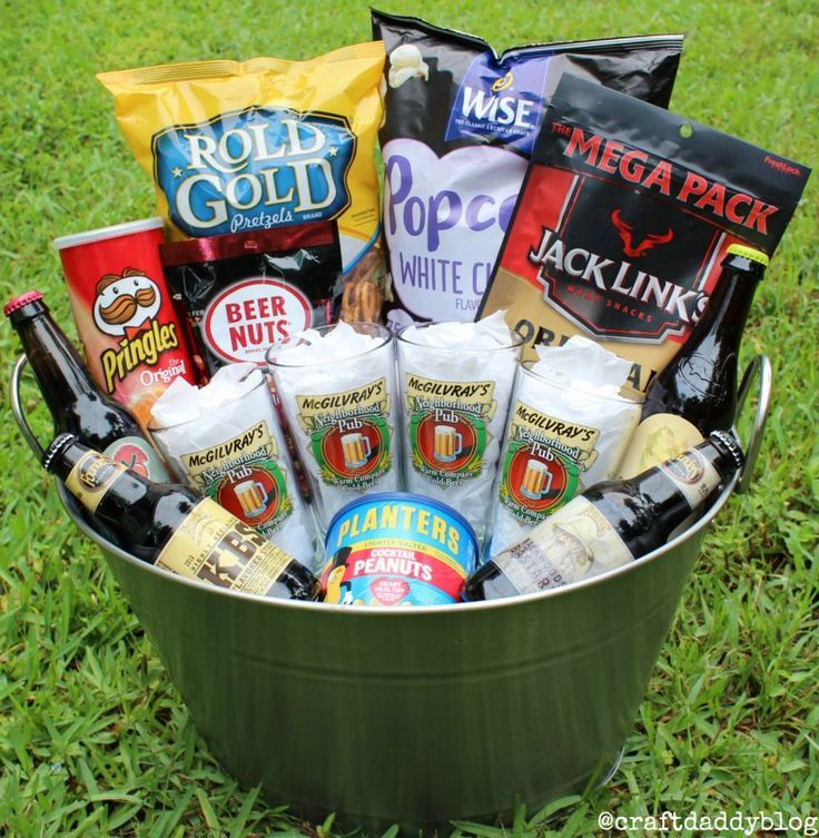 Craft Beer Lovers Gift Basket. Beer, personalized glasses, and snacks all in one…