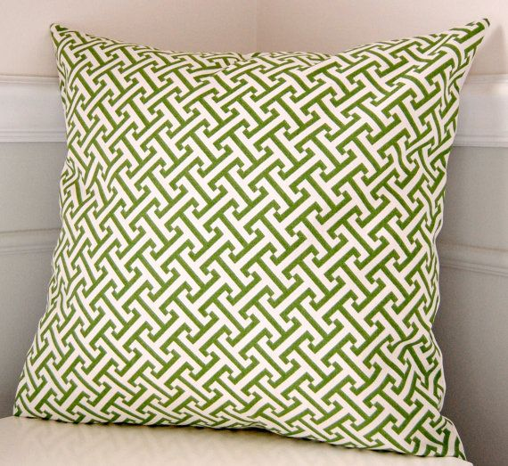 Green Pillow Cover, Geometric Throw Pillow, Green and White Pillow, 18x18 Pillow, Cushion Cover