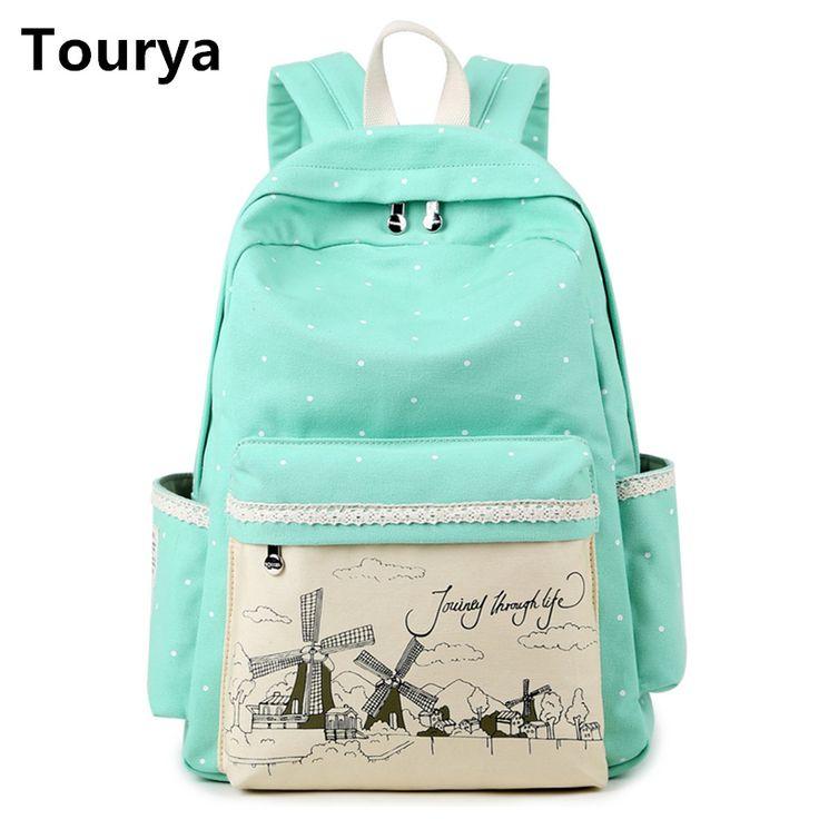Tourya Cute Canvas School bag Vintage Dot Printing Laptop Backpack Backpacks For teenage girls women Travel shoulder bags
