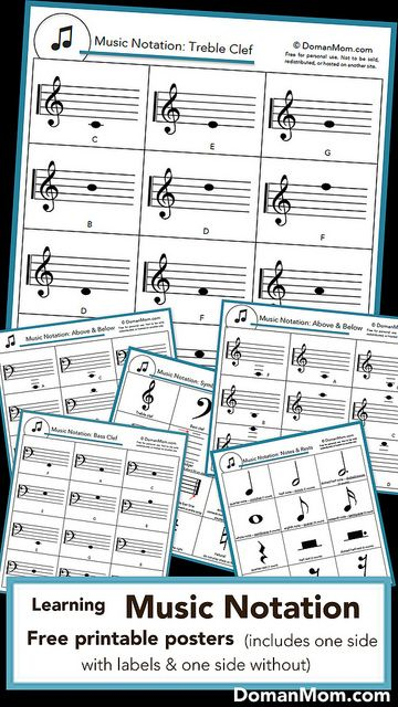 Six free review posters for learning music notation (note reading & symbols). Includes both labeled and non-labeled pictures!