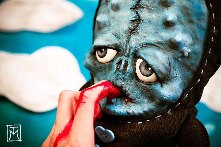 """""""SOLD 'Tiburonny Sophisticato' always biting the hand that feeds it...  (Creepy Cute Shark-inspired art doll made of latex, repurposed fabric and much love! Talissa Mehringer © 2015)"""