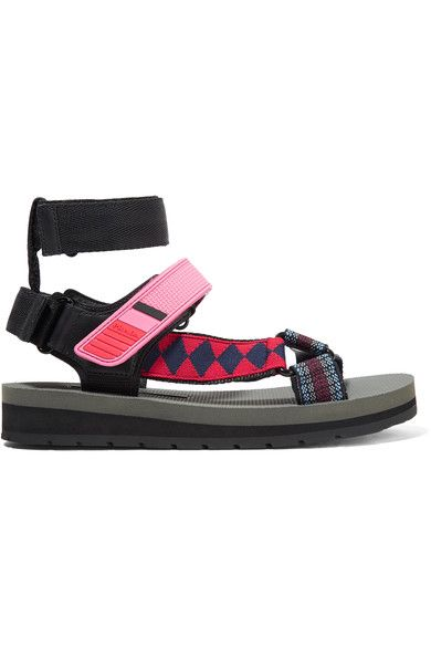 PRADA Canvas, leather and rubber sandals. #prada #shoes #sandals