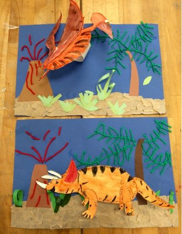 Pop Up Dinosaur Collages- Elementary Art- Dinosaur Projects-Art with Mr. Giannetto blog