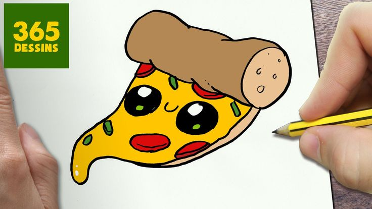 COMMENT DESSINER PIZZA KAWAII ÉTAPE PAR ÉTAPE – Dessins kawaii ...