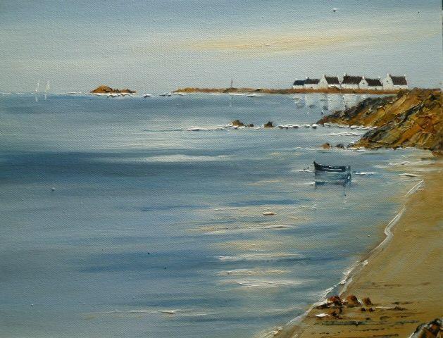 Couleurs Oceanes - Peinture,  40x40 cm ©2014 par André Kermorvant -                            Peinture contemporaine, Marine, couleurs Bretonnes, la mer, rivage breton