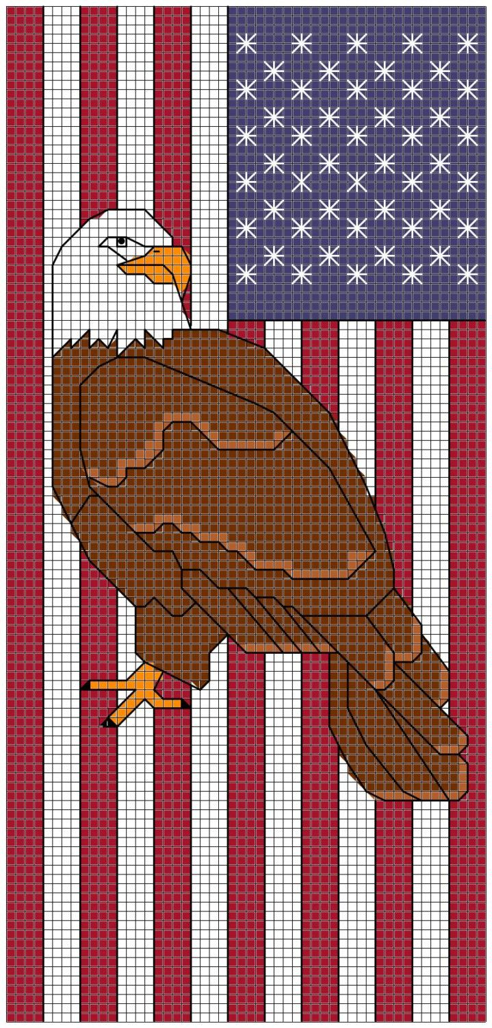 Patriotic Eagle Bookmark cross stitch pattern by AnsleyCollinsDesigns on Etsy