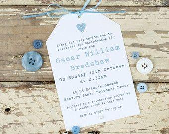 Handmade Christening invitation Baptism Naming Day by PaperFudge