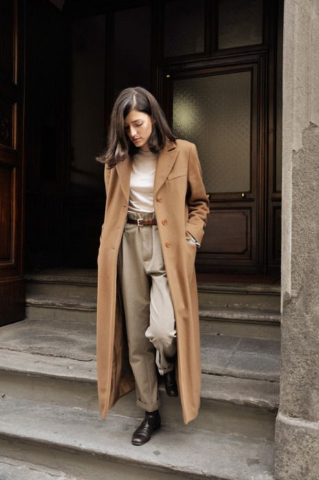 Street Style - How to wear a long trench coat with high waisted trousers | @andwhatelse