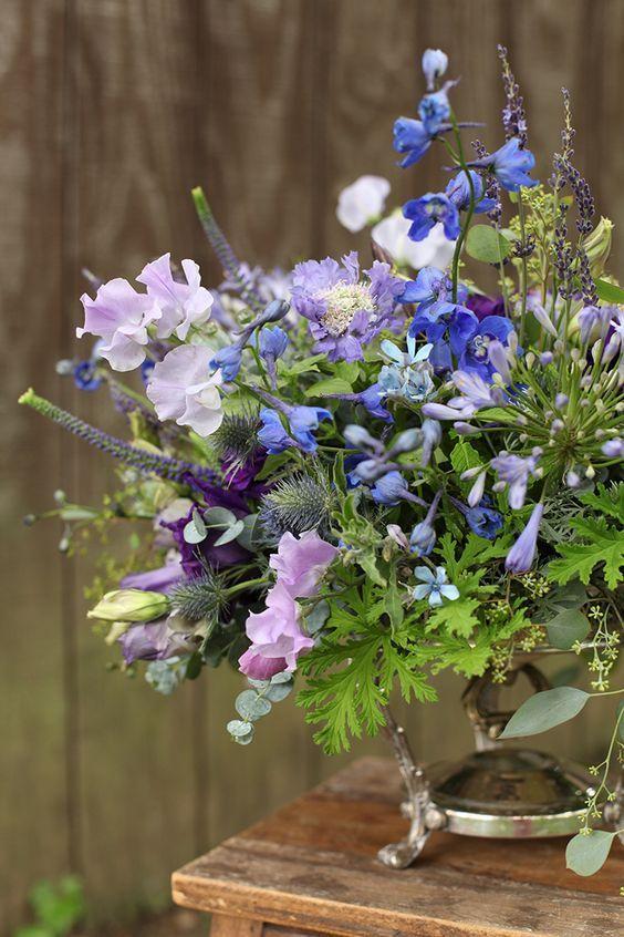 Garden centerpiece with purple lisianthus lavender sweet