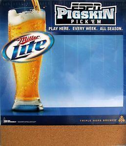 """Fantasy Football Miller Lite ESPN Peg Board Dry Erase Pigskin Pick Em NEW 26.5"""""""