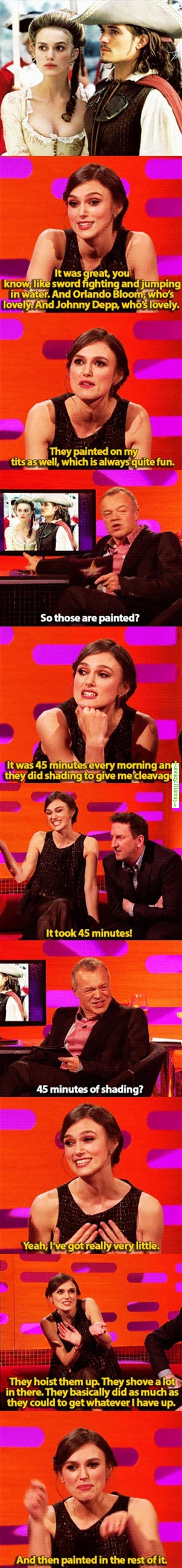 Funny Meme - [Poor Keira Knightley]  NO WONDER SHE HAS THAT EXPRESSION ON HER FACE IN THE TOP PIC!