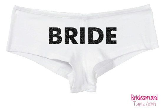 White BRIDE Boyshorts White BLING Bride Undies by BridesmaidTank