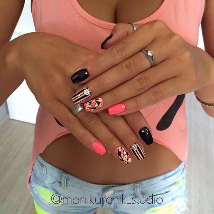 Beautiful nail colors, Manicure by summer dress, Nail art stripes, Original nails, Striped nails, Summer colorful nails, Summer gel polish 2017, Summer nails 2017