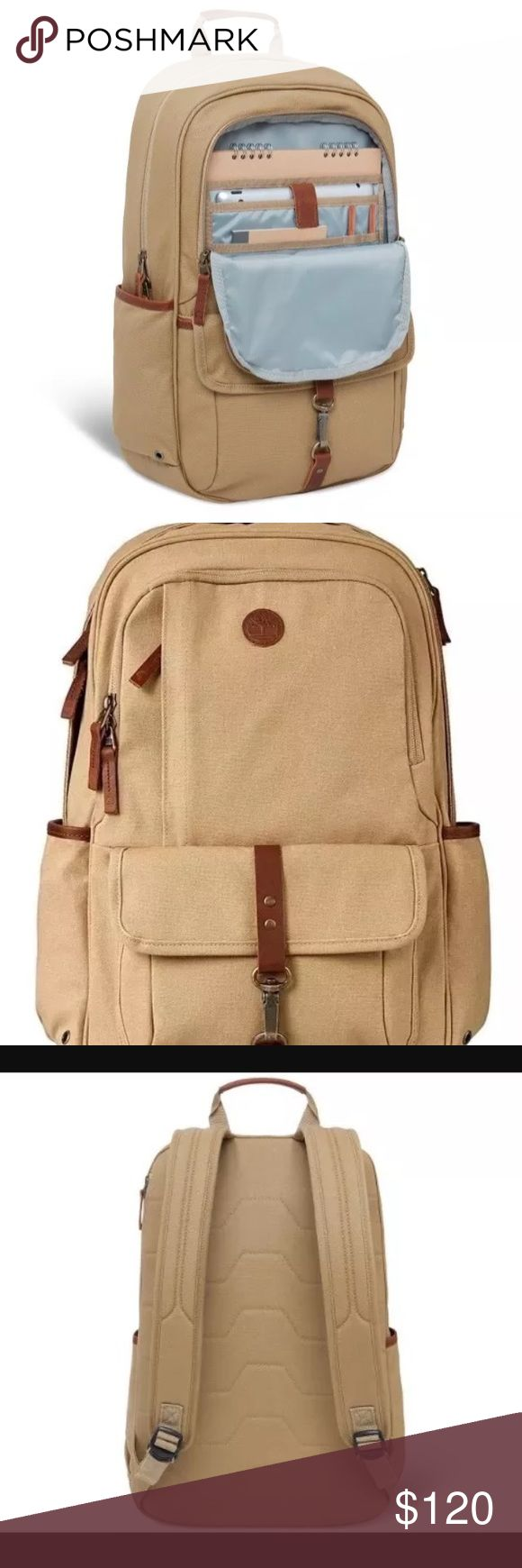 "TIMBERLAND IRELAND WALNUT HILL 24L LAPTOP BACKPACK The Walnut Hill Backpack is made of a tough canvas exterior with handsome leather trim and our go to bag for work, travel, or play. 100% canvas and leather trim. 1 exterior zipper pocket. 1 slide pocket with clasping closure. 2 side pockets. 1 large backside padded zipping pocket for laptops or tablets. 1 interior zipper pocket. Adjustable straps.carrying handles. Measures 19"" X 12.50"" X 5.50"". Tan Timberland Bags Laptop Bags"
