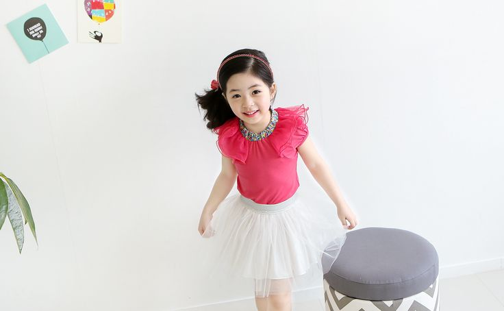 Korea children's No.1 Shopping Mall. EASY & LOVELY STYLE [COOKIE HOUSE] Baby Pins T-shirt / Size : S, M, L / Price : 15.01 USD And minor shoulder with Ruched. Flower pattern along the neckline into. More attractive T-shirt ~ ^ ^  (Blue, Hot pink / 7 ~ 17 to No.)  #tshirt #tops #frill #kidstops #koreakids #kids #kidsfashion #cute #COOKIEHOUSE #OOTD