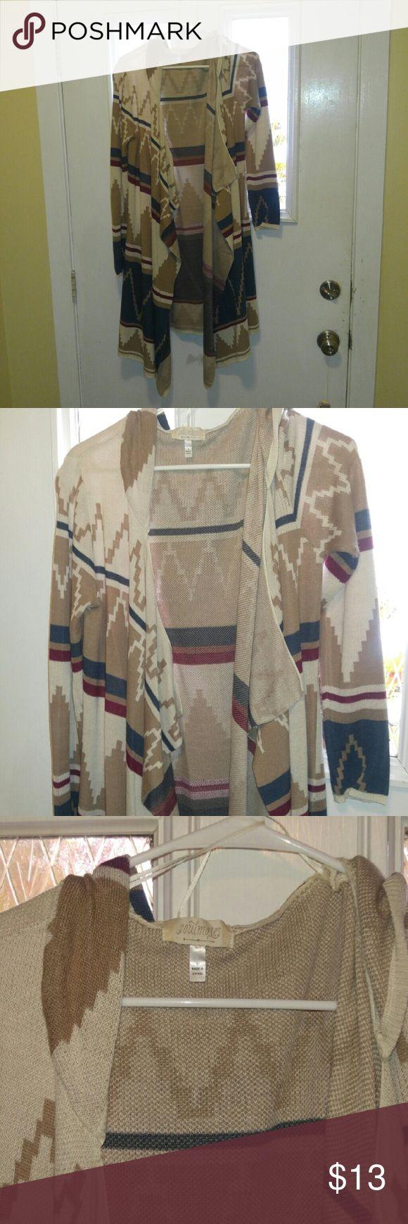 Hooded Tribal Cardigan Size medium in juniors Soulmates Sweaters Cardigans